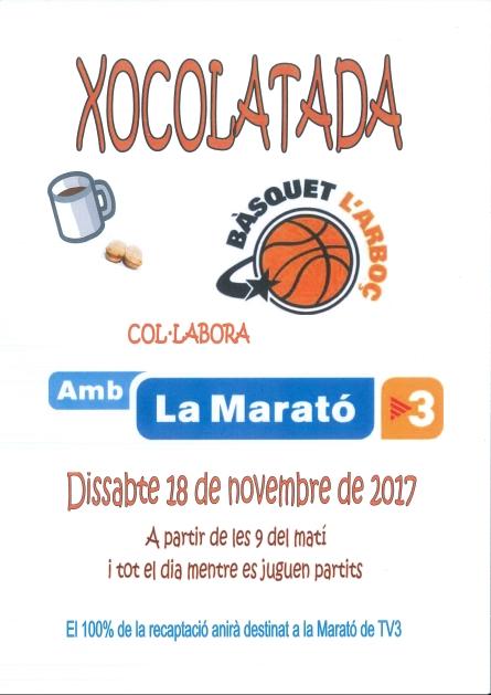 Aquest dissabte C.B. L'Arboç amb la Marató de TV3. El 100% dels ingressos de l'activitat anirà destinat a la Marató.